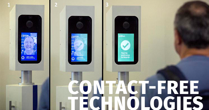 US airports are betting on contact-free technologies to give passengers confidencecto para dar confianza a los pasajeros.